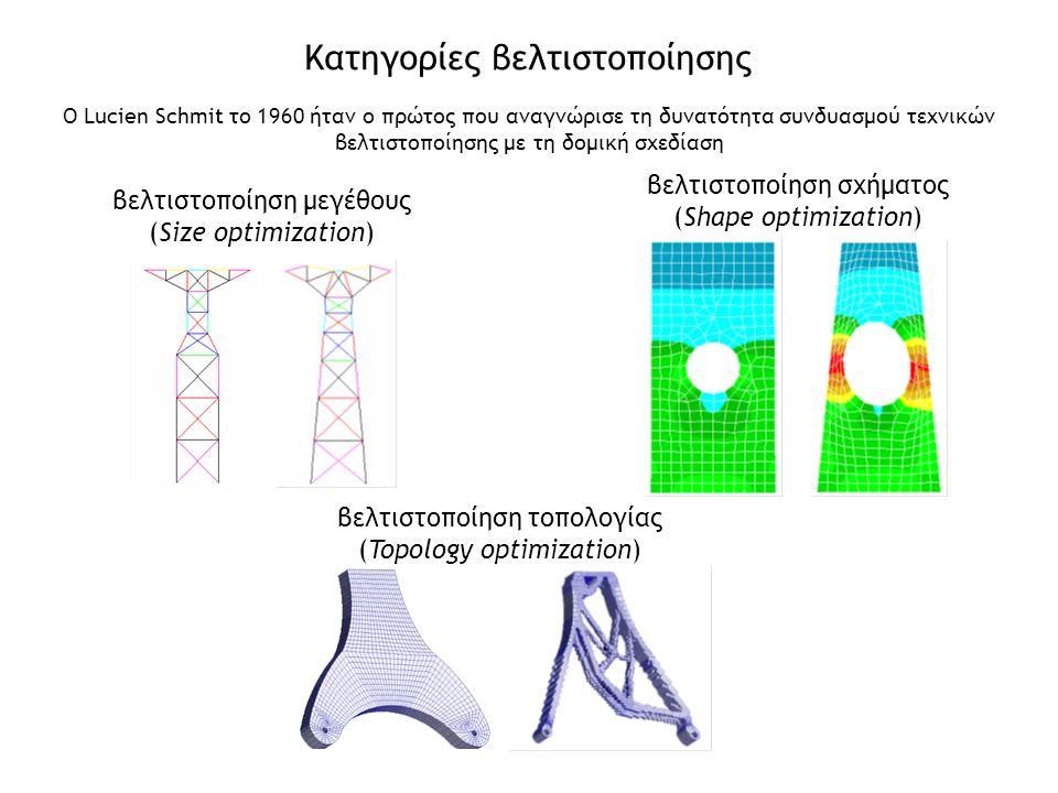 βελτιστοποίηση μεγέθους (Size optimization) Κατηγορίες βελτιστοποίησης βελτιστοποίηση σχήματος (Shape optimization) βελτιστοποίηση τοπολογίας (Topolog