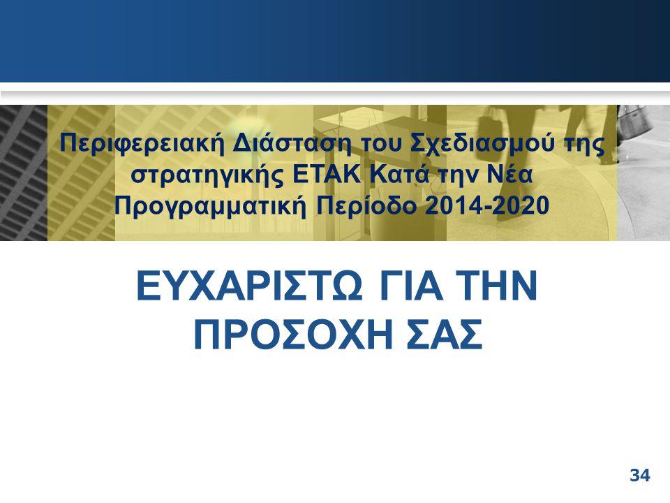 Περιφερειακή Διάσταση του Σχεδιασμού της στρατηγικής ΕΤΑΚ Κατά την Νέα Προγραμματική Περίοδο 2014-2020 ΕΥΧΑΡΙΣΤΩ ΓΙΑ ΤΗΝ ΠΡΟΣΟΧΗ ΣΑΣ 34