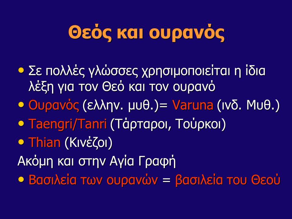 Θεός και ουρανός Σε πολλές γλώσσες χρησιμοποιείται η ίδια λέξη για τον Θεό και τον ουρανό Σε πολλές γλώσσες χρησιμοποιείται η ίδια λέξη για τον Θεό κα