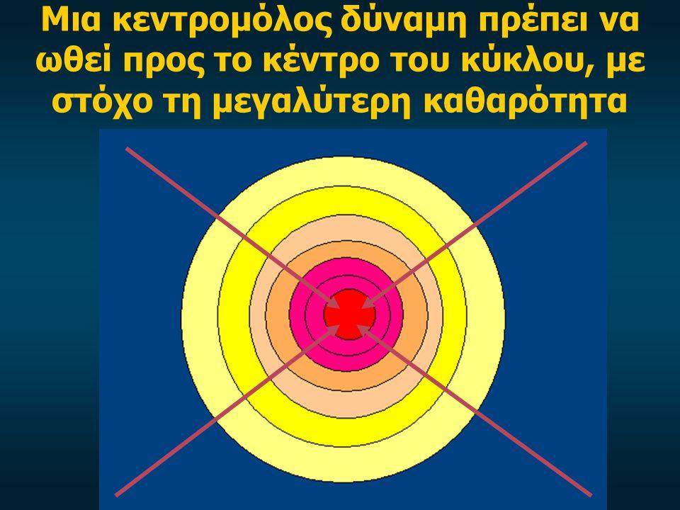 Μια κεντρομόλος δύναμη πρέπει να ωθεί προς το κέντρο του κύκλου, με στόχο τη μεγαλύτερη καθαρότητα