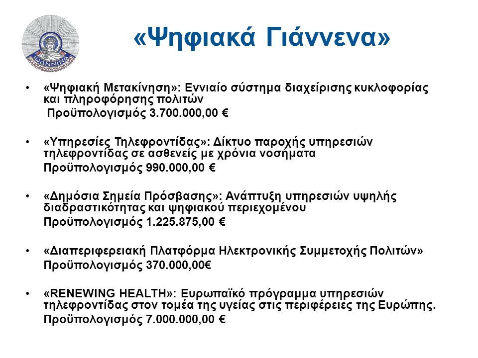 «Ψηφιακή Μετακίνηση»: Εννιαίο σύστημα διαχείρισης κυκλοφορίας και πληροφόρησης πολιτών Προϋπολογισμός 3.700.000,00 € «Υπηρεσίες Τηλεφροντίδας»: Δίκτυο