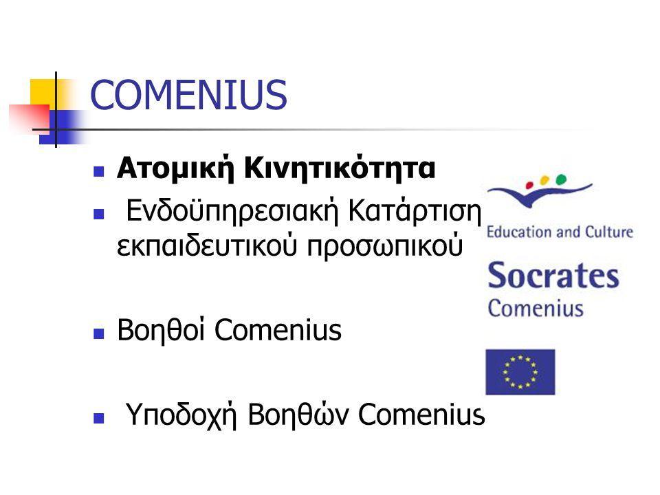 COMENIUS Ατομική Κινητικότητα Ενδοϋπηρεσιακή Κατάρτιση εκπαιδευτικού προσωπικού Βοηθοί Comenius Υποδοχή Βοηθών Comenius