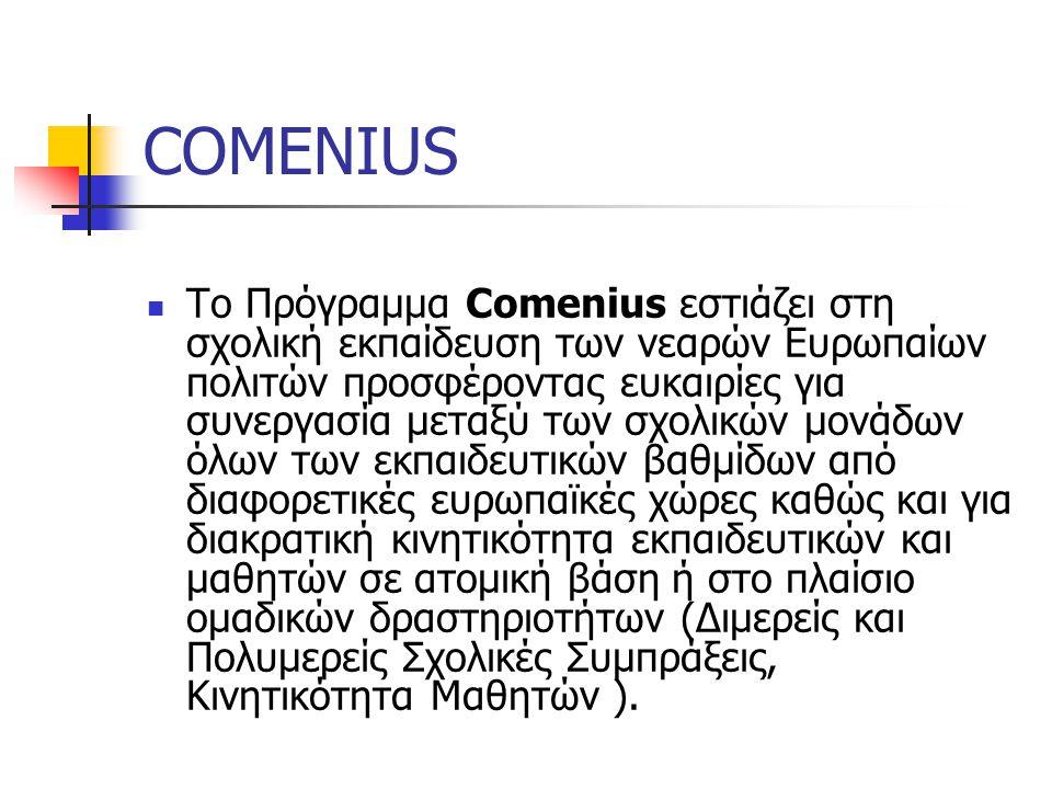 COMENIUS Tο Πρόγραμμα Comenius εστιάζει στη σχολική εκπαίδευση των νεαρών Ευρωπαίων πολιτών προσφέροντας ευκαιρίες για συνεργασία μεταξύ των σχολικών μονάδων όλων των εκπαιδευτικών βαθμίδων από διαφορετικές ευρωπαϊκές χώρες καθώς και για διακρατική κινητικότητα εκπαιδευτικών και μαθητών σε ατομική βάση ή στο πλαίσιο ομαδικών δραστηριοτήτων (Διμερείς και Πολυμερείς Σχολικές Συμπράξεις, Κινητικότητα Μαθητών ).