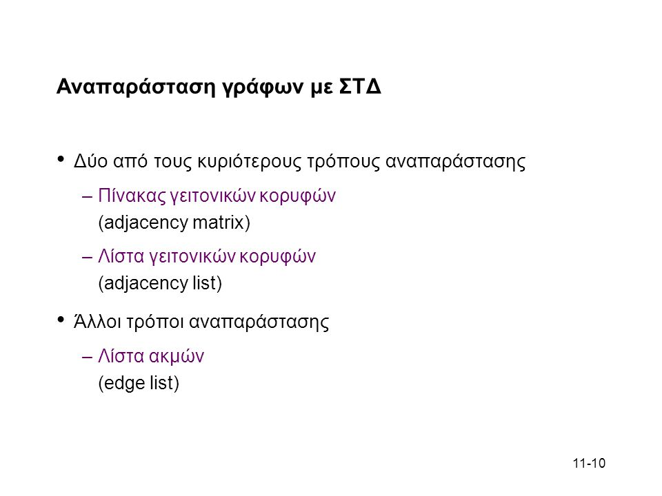 11-10 Αναπαράσταση γράφων με ΣΤΔ Δύο από τους κυριότερους τρόπους αναπαράστασης –Πίνακας γειτονικών κορυφών (adjacency matrix) –Λίστα γειτονικών κορυφών (adjacency list) Άλλοι τρόποι αναπαράστασης –Λίστα ακμών (edge list)