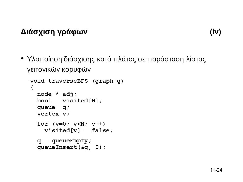11-24 Διάσχιση γράφων(iv) Υλοποίηση διάσχισης κατά πλάτος σε παράσταση λίστας γειτονικών κορυφών void traverseBFS (graph g) { node * adj; bool visited[N]; queue q; vertex v; for (v=0; v<N; v++) visited[v] = false; q = queueEmpty; queueInsert(&q, 0);