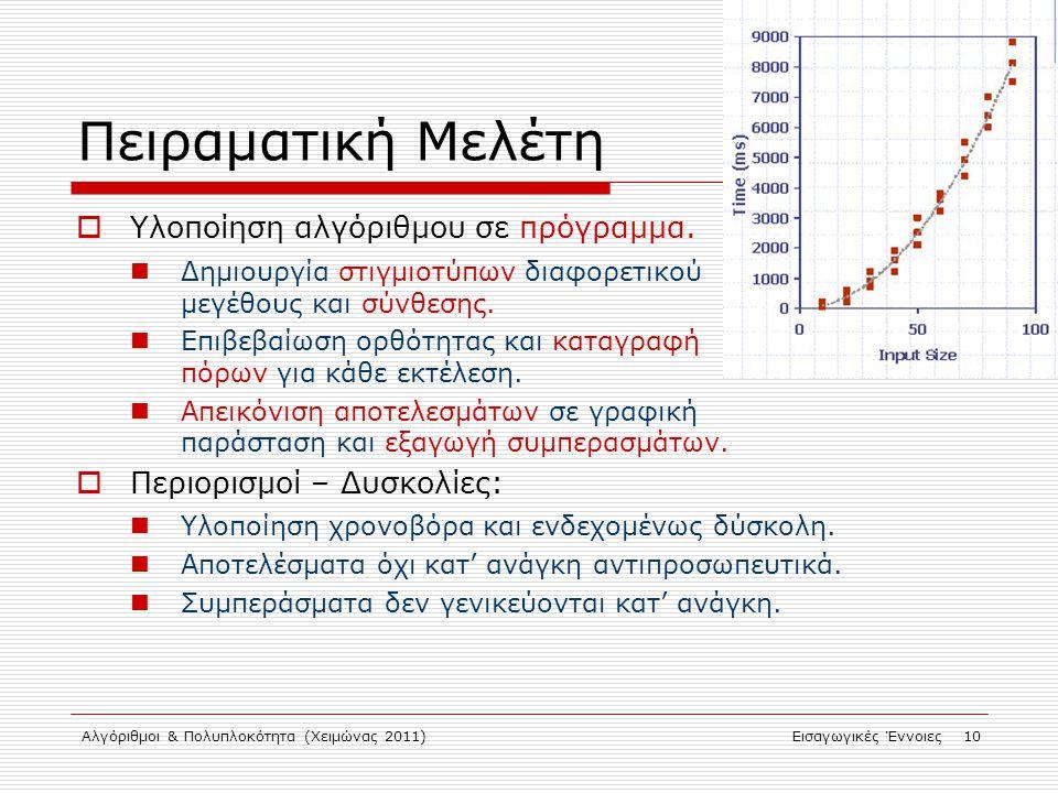 Αλγόριθμοι & Πολυπλοκότητα (Χειμώνας 2011)Εισαγωγικές Έννοιες 10 Πειραματική Μελέτη  Υλοποίηση αλγόριθμου σε πρόγραμμα.