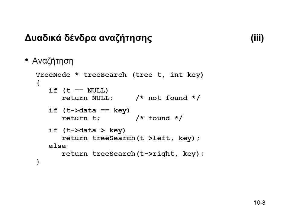 10-8 Δυαδικά δένδρα αναζήτησης(iii) Αναζήτηση TreeNode * treeSearch (tree t, int key) { if (t == NULL) return NULL; /* not found */ if (t->data == key