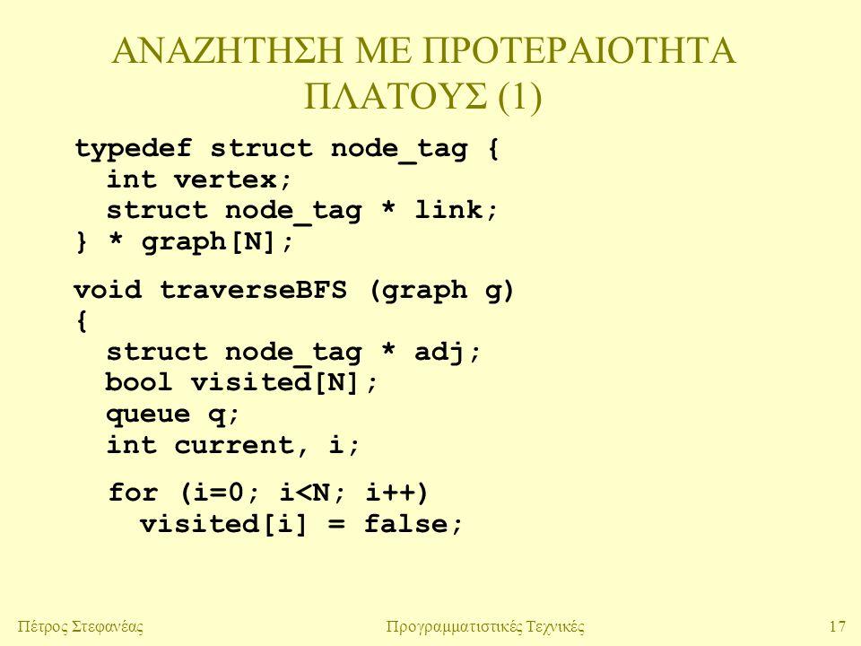 17Πέτρος ΣτεφανέαςΠρογραμματιστικές Τεχνικές ΑΝΑΖΗΤΗΣΗ ΜΕ ΠΡΟΤΕΡΑΙΟΤΗΤΑ ΠΛΑΤΟΥΣ (1) typedef struct node_tag { int vertex; struct node_tag * link; } * graph[N]; void traverseBFS (graph g) { struct node_tag * adj; bool visited[N]; queue q; int current, i; for (i=0; i<N; i++) visited[i] = false;