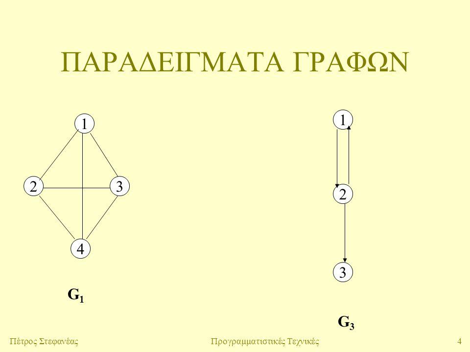 4Πέτρος ΣτεφανέαςΠρογραμματιστικές Τεχνικές ΠΑΡΑΔΕΙΓΜΑΤΑ ΓΡΑΦΩΝ 1 23 4 1 2 3 G1G1 G3G3