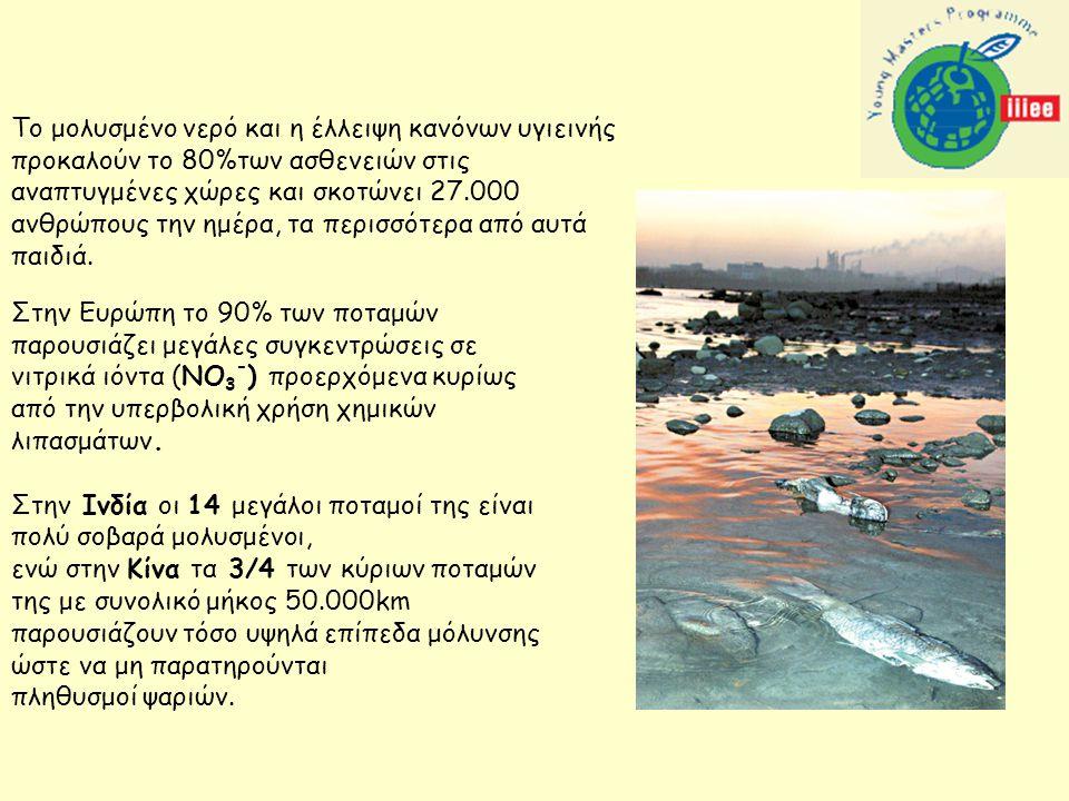 Στην Ευρώπη το 90% των ποταμών παρουσιάζει μεγάλες συγκεντρώσεις σε νιτρικά ιόντα (ΝΟ 3 - ) προερχόμενα κυρίως από την υπερβολική χρήση χημικών λιπασμάτων.