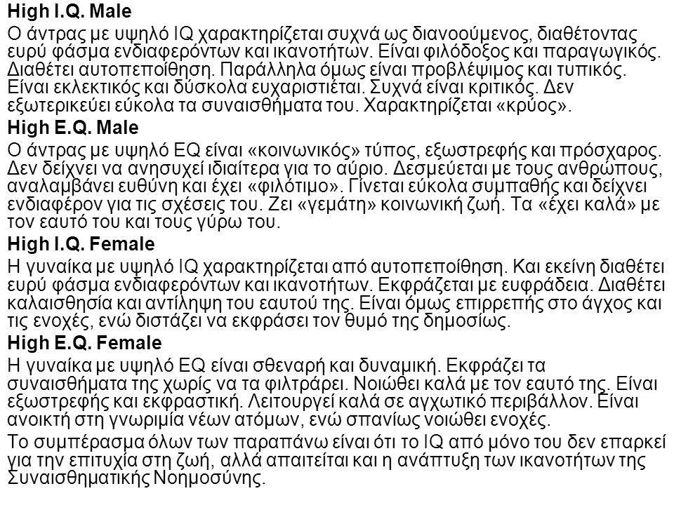 High I.Q. Male Ο άντρας με υψηλό IQ χαρακτηρίζεται συχνά ως διανοούμενος, διαθέτοντας ευρύ φάσμα ενδιαφερόντων και ικανοτήτων. Είναι φιλόδοξος και παρ