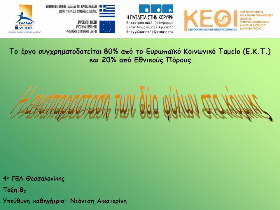 4 ο ΓΕΛ Θεσσαλονίκης Τάξη Β 2 Υπεύθυνη καθηγήτρια: Ντόντση Αικατερίνη Το έργο συγχρηματοδοτείται 80% από το Ευρωπαϊκό Κοινωνικό Ταμείο (Ε.Κ.Τ.) και 20