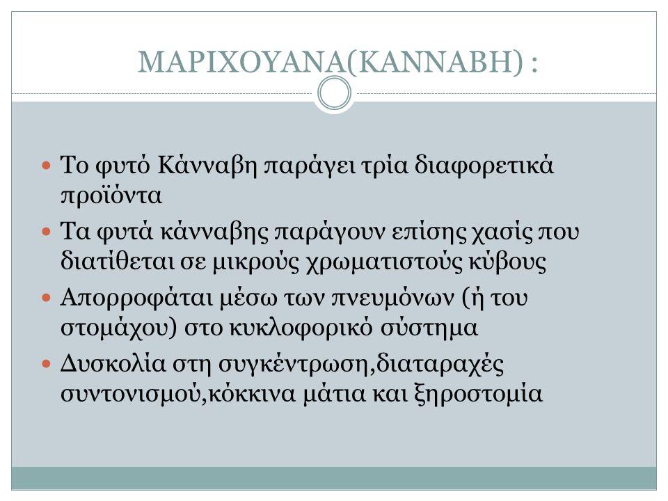ΜΑΡΙΧΟΥΑΝΑ(KANNABH) : Το φυτό Κάνναβη παράγει τρία διαφορετικά προϊόντα Τα φυτά κάνναβης παράγουν επίσης χασίς που διατίθεται σε μικρούς χρωματιστούς