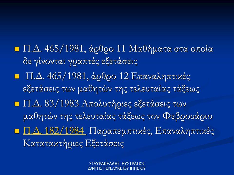 Π.Δ. 465/1981, άρθρο 11 Μαθήματα στα οποία δε γίνονται γραπτές εξετάσεις Π.Δ. 465/1981, άρθρο 11 Μαθήματα στα οποία δε γίνονται γραπτές εξετάσεις Π.Δ.