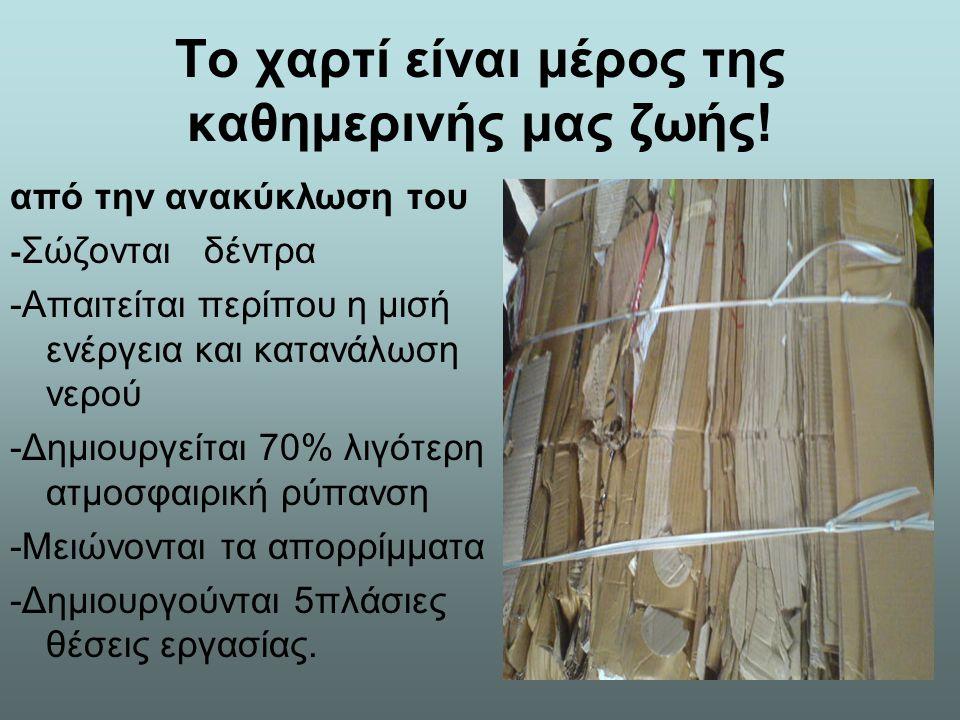 Το χαρτί είναι μέρος της καθημερινής μας ζωής! από την ανακύκλωση του - Σώζονται δέντρα -Απαιτείται περίπου η μισή ενέργεια και κατανάλωση νερού -Δημι
