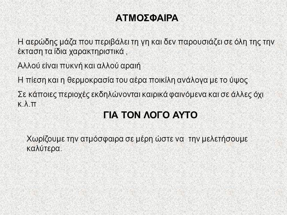 ΔΟΜΗ ΤΗΣ ΑΤΜΟΣΦΑΙΡΑΣ (Από την επιφάνεια της γης προς το διάστημα) Τροπόσφαιρα 5.ΕΞΩΣΦΑΙΡΑ 4.ΘΕΡΜΟΣΦΑΙΡΑ 3.ΜΕΣΟΣΦΑΙΡΑ 2.ΣΤΡΑΤΟΣΦΑΙΡΑ 1.ΤΡΟΠΟΣΦΑΙΡΑ Στρατόσφαιρα Μεσόσφαιρα Θερμόσφαιρα Εξώσφαιρα Τα κύρια στρώματα της ατμόσφαιρας 500-600 Km