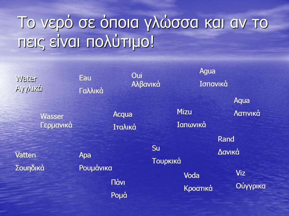 Το νερό σε όποια γλώσσα και αν το πεις είναι πολύτιμο! WaterΑγγλικά Eau Γαλλικά Wasser Γερμανικά Oui Αλβανικά Acqua Ιταλικά Apa Ρουμάνικα Mizu Ιαπωνικ
