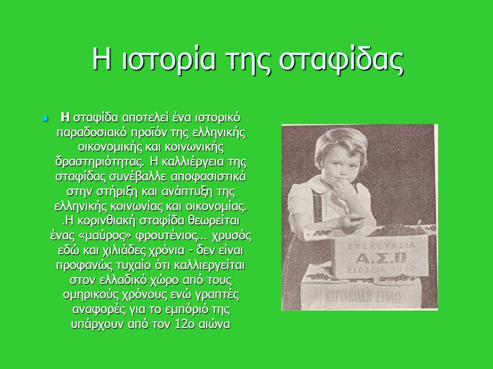Η ιστορία της σταφίδας Η σταφίδα αποτελεί ένα ιστορικό παραδοσιακό προϊόν της ελληνικής οικονομικής και κοινωνικής δραστηριότητας. Η καλλιέργεια της σ