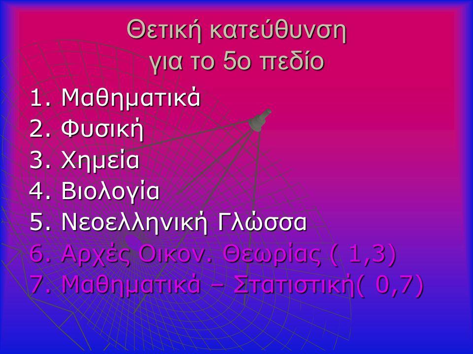 Θετική κατεύθυνση για το 5ο πεδίο 1. Μαθηματικά 2.