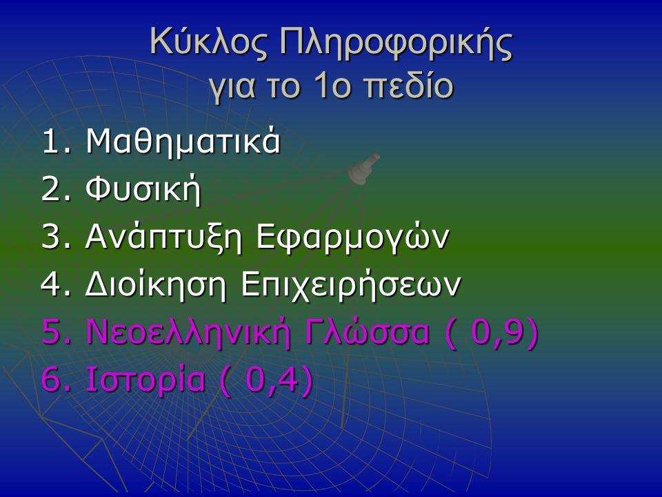 Κύκλος Πληροφορικής για το 1ο πεδίο 1. Μαθηματικά 2.