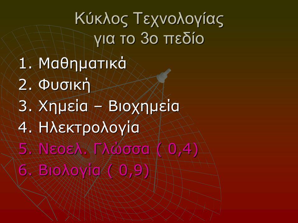 Κύκλος Τεχνολογίας για το 3ο πεδίο 1. Μαθηματικά 2.