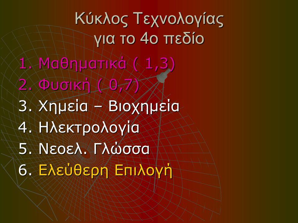Κύκλος Τεχνολογίας για το 4ο πεδίο 1. Μαθηματικά ( 1,3) 2.