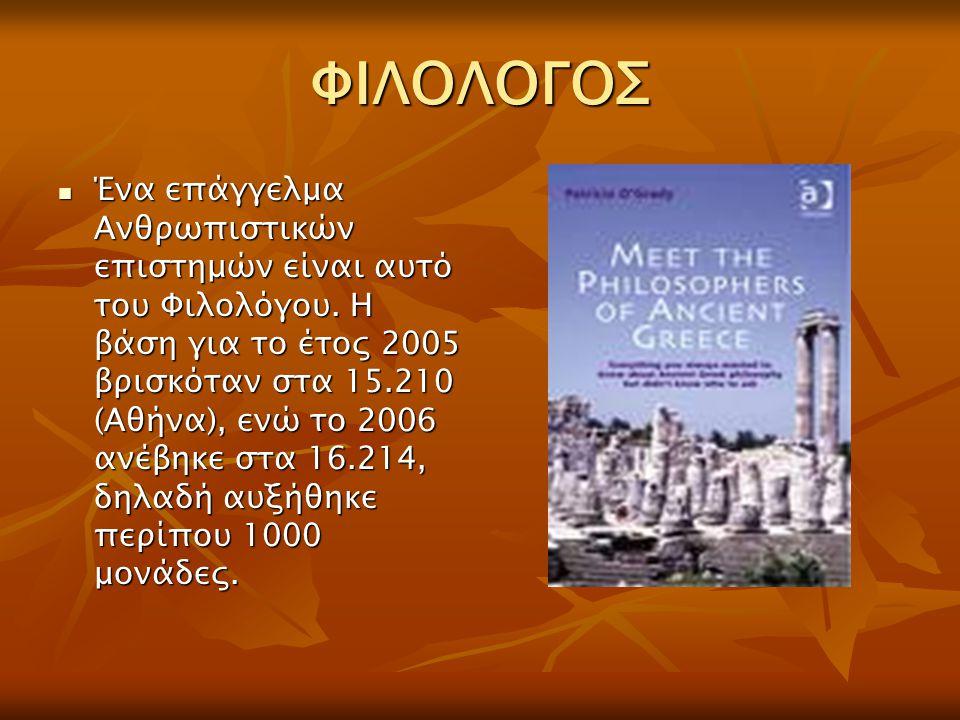 ΦΙΛΟΛΟΓΟΣ Ένα επάγγελμα Ανθρωπιστικών επιστημών είναι αυτό του Φιλολόγου. Η βάση για το έτος 2005 βρισκόταν στα 15.210 (Αθήνα), ενώ το 2006 ανέβηκε στ