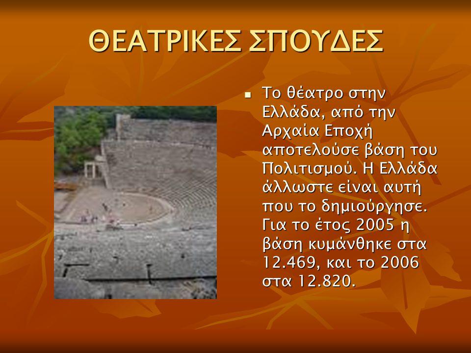 ΘΕΑΤΡΙΚΕΣ ΣΠΟΥΔΕΣ Το θέατρο στην Ελλάδα, από την Αρχαία Εποχή αποτελούσε βάση του Πολιτισμού. Η Ελλάδα άλλωστε είναι αυτή που το δημιούργησε. Για το έ