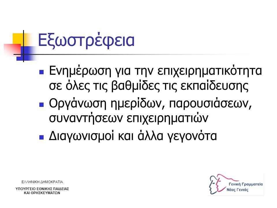 Εξωστρέφεια Ενημέρωση για την επιχειρηματικότητα σε όλες τις βαθμίδες τις εκπαίδευσης Οργάνωση ημερίδων, παρουσιάσεων, συναντήσεων επιχειρηματιών Διαγ