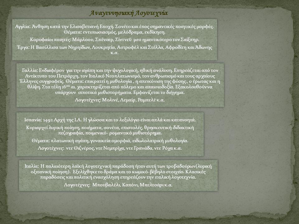 Αναγεννησιακή Λογοτεχνία Αγγλία: Άνθηση κατά την Ελισαβετιανή Εποχή. Σονέτο και έπος σημαντικές ποιητικές μορφές. Θέματα: εντυπωσιασμός, μελόδραμα, εκ