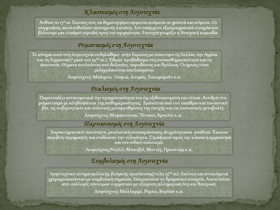 Ρομαντισμός στη Λογοτεχνία Το κίνημα αυτό στη λογοτεχνία εκδηλώθηκε στην Ευρώπη με επίκεντρο τη Γαλλία, την Αγγλία και τη Γερμανία(1 ο μισό του 19 ου αι.).