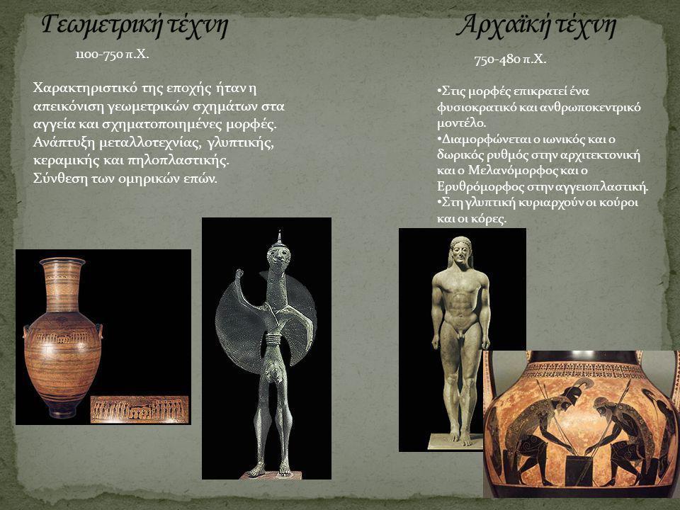 1100-750 π.Χ. 750-480 π.Χ. Χαρακτηριστικό της εποχής ήταν η απεικόνιση γεωμετρικών σχημάτων στα αγγεία και σχηματοποιημένες μορφές. Ανάπτυξη μεταλλοτε