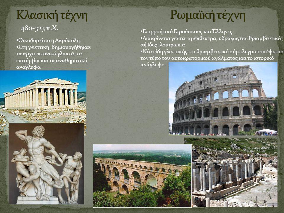 480-323 π.Χ. Οικοδομείται η Ακρόπολη. Στη γλυπτική δημιουργήθηκαν τα αρχιτεκτονικά γλυπτά, τα επιτύμβια και τα αναθηματικά ανάγλυφα Επιρροή από Ετρούσ