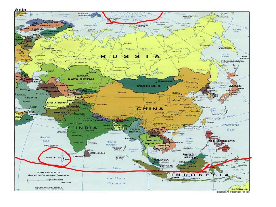 Πακιστάν Αφγανιστάν Ινδία Νεπάλ Μπουτάν Μπαγκλαντές Βιρμανία Κίνα Μογγολία Ιαπωνία Ρωσία Β.