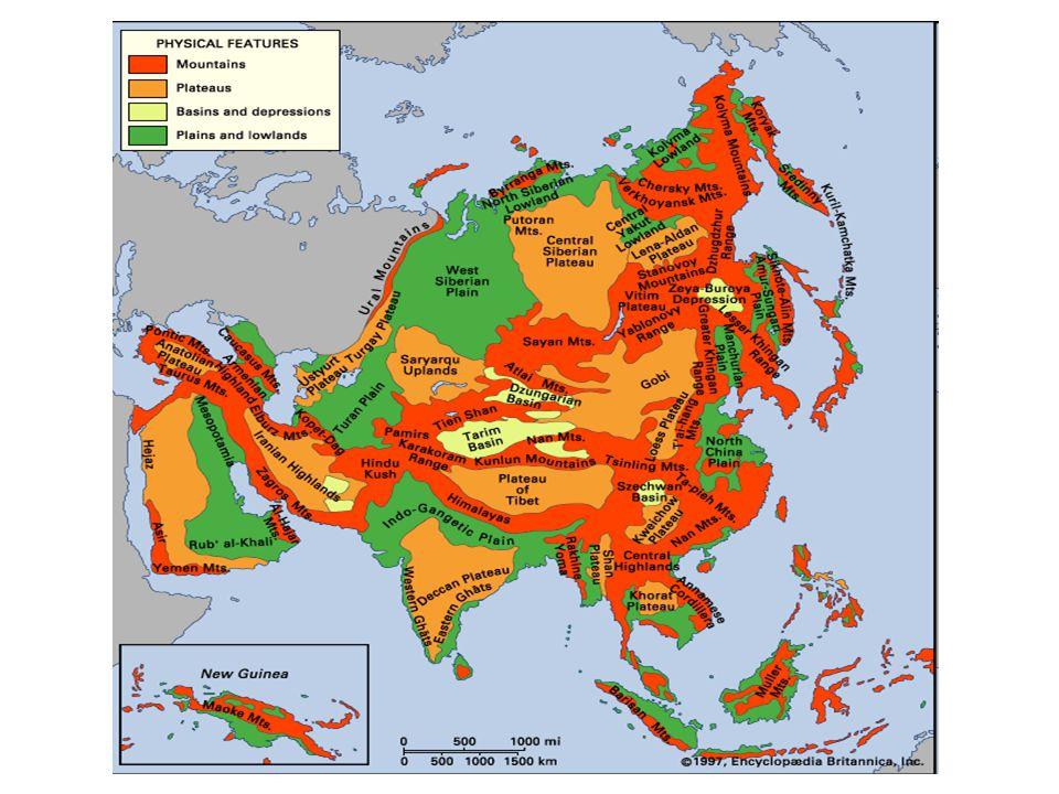 Μορφολογία του εδάφους (Κατακόρυφος διαμελισμός) Νοτιοδυτικά: Ορεινή με ερήμους και μεγάλα οροπέδια Κεντρικά: Ορεινή με ερήμους Νότια:βρίσκετε η μεγαλύτερη οροσειρά της γης τα Ιμαλάϊα με ψηλότερη κορυφή το Έβερεστ.