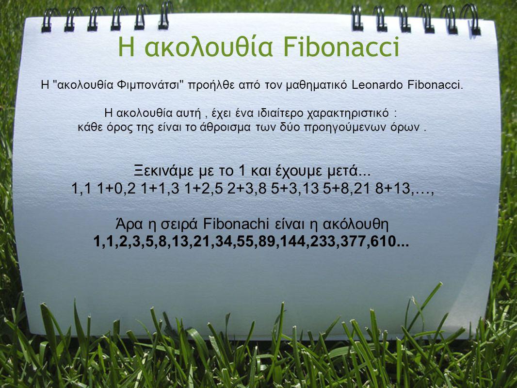 Η ακολουθία Fibonacci Η
