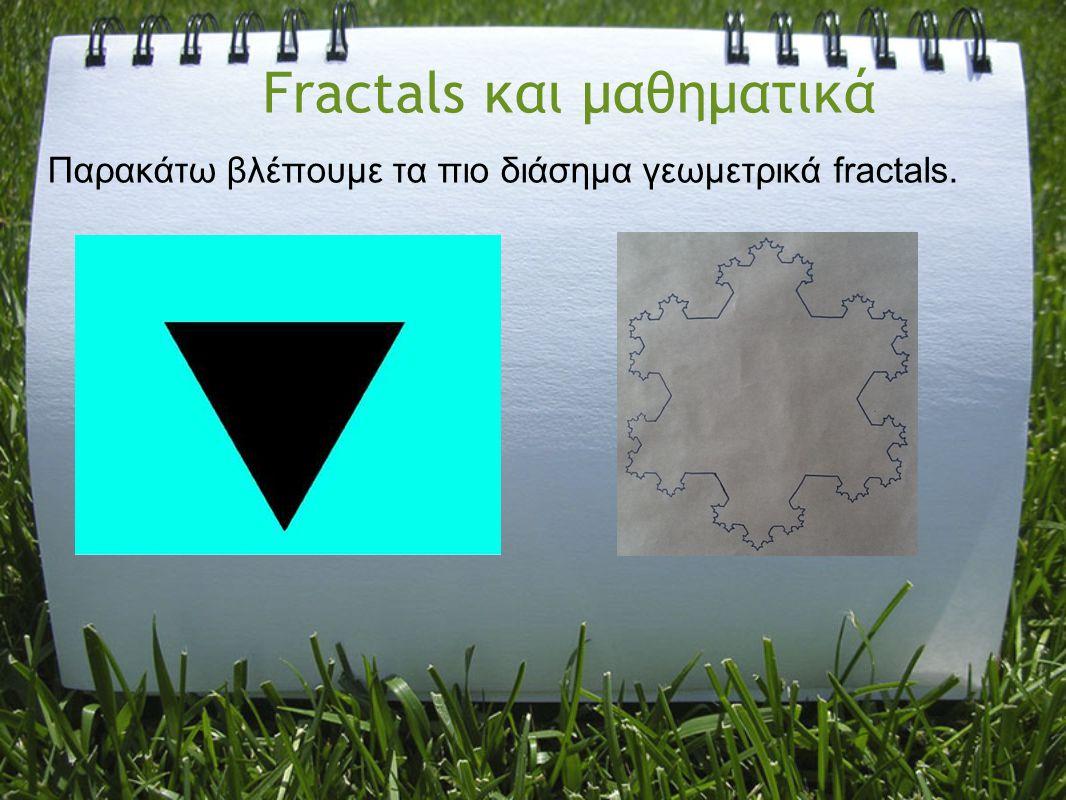 Fractals και μαθηματικά Παρακάτω βλέπουμε τα πιο διάσημα γεωμετρικά fractals.