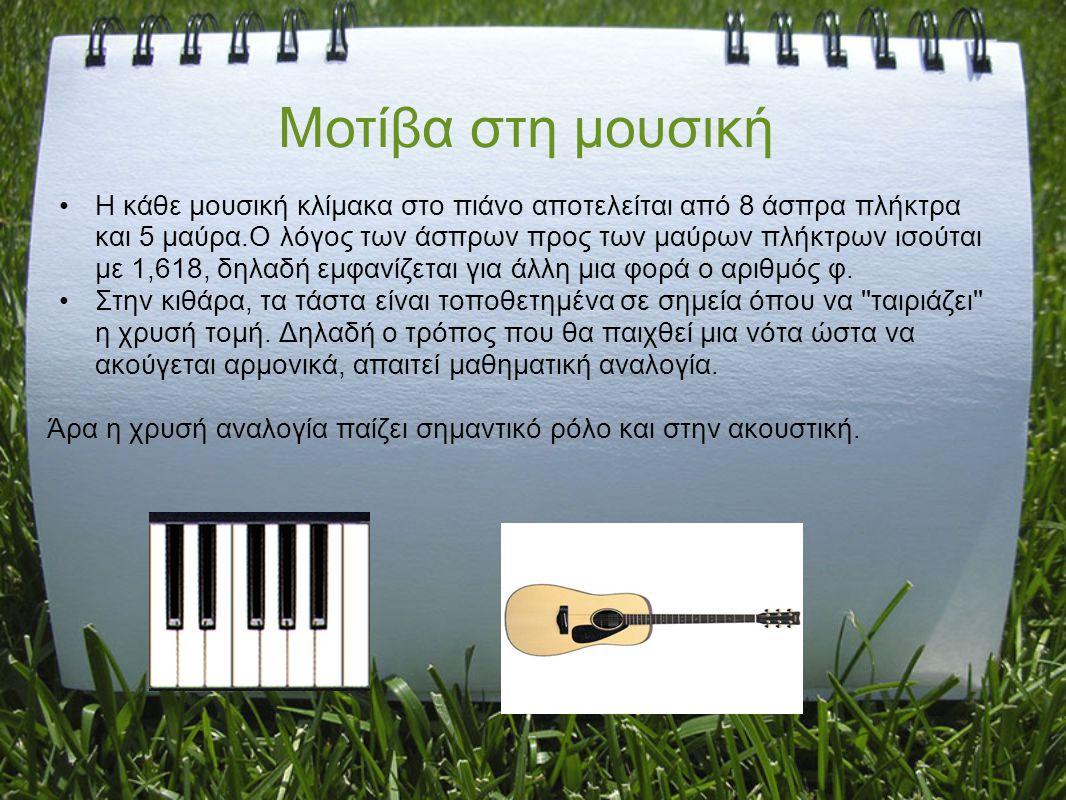 H κάθε μουσική κλίμακα στο πιάνο αποτελείται από 8 άσπρα πλήκτρα και 5 μαύρα.Ο λόγος των άσπρων προς των μαύρων πλήκτρων ισούται με 1,618, δηλαδή εμφα