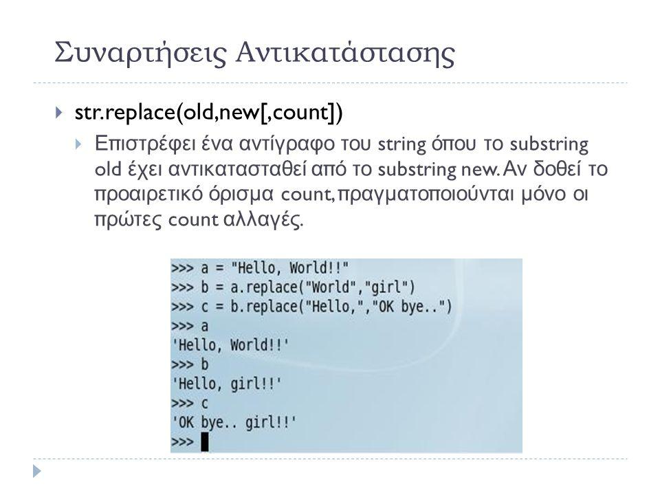 Συναρτήσεις Αντικατάστασης  str.replace(old,new[,count])   Επιστρέφει ένα αντίγραφο του string όπου το substring old έχει αντικατασταθεί από το substring new.