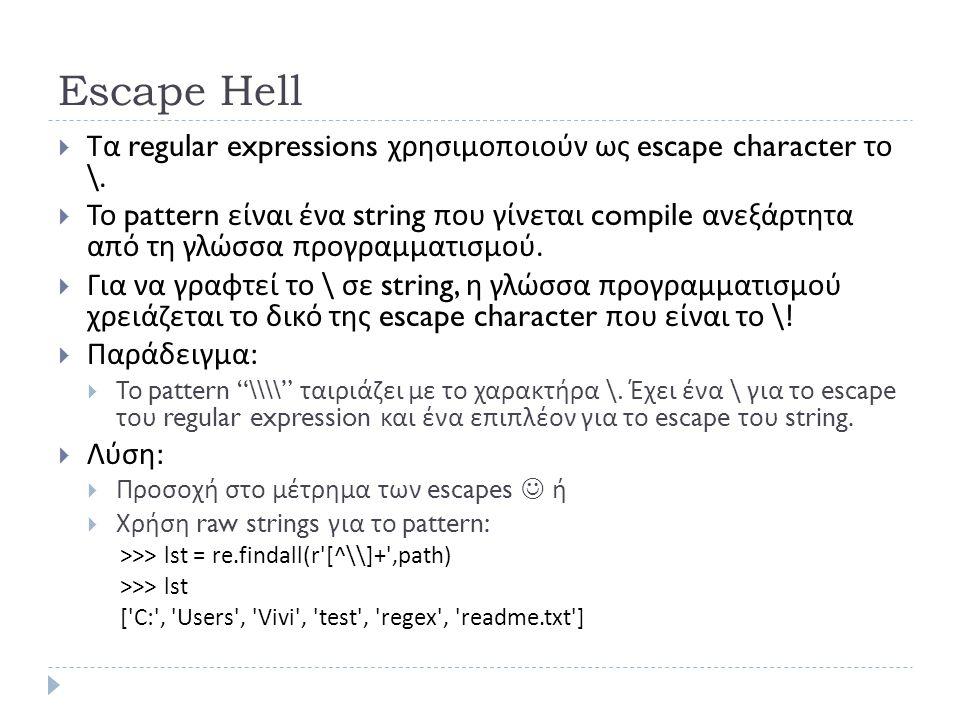 Escape Hell  Τα regular expressions χρησιμοποιούν ως escape character το \.  Το pattern είναι ένα string που γίνεται compile ανεξάρτητα από τη γλώσσ