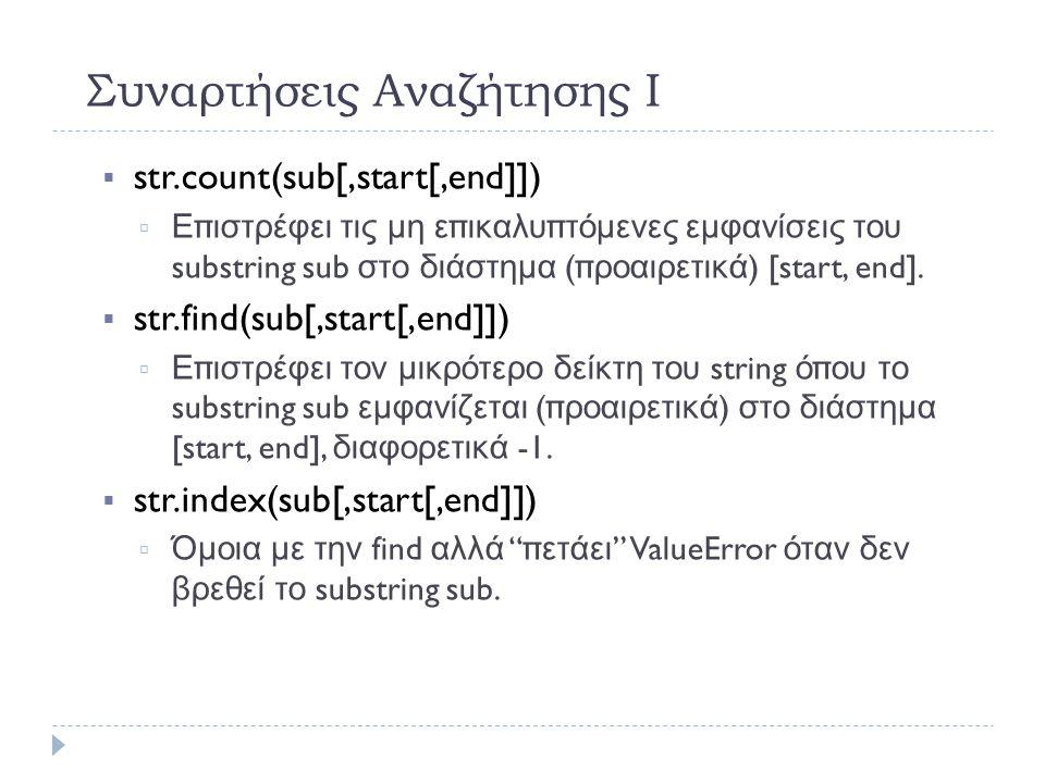 Συναρτήσεις Αναζήτησης Ι  str.count(sub[,start[,end]])   Επιστρέφει τις μη επικαλυπτόμενες εμφανίσεις του substring sub στο διάστημα ( προαιρετικά ) [start, end].