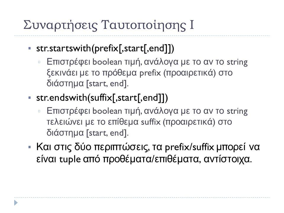 Συναρτήσεις Ταυτοποίησης Ι  str.startswith(prefix[,start[,end]])   Επιστρέφει boolean τιμή, ανάλογα με το αν το string ξεκινάει με το πρόθεμα prefix ( προαιρετικά ) στο διάστημα [start, end].