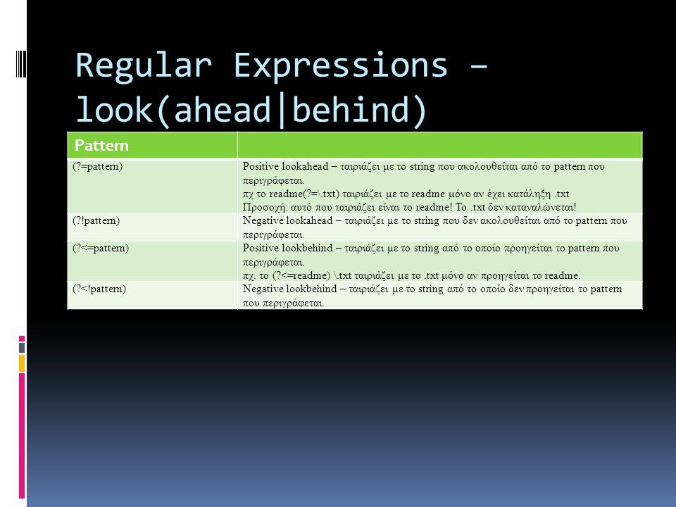 Regular Expressions – look(ahead|behind) Pattern ( =pattern)Positive lookahead – ταιριάζει με το string που ακολουθείται από το pattern που περιγράφεται.