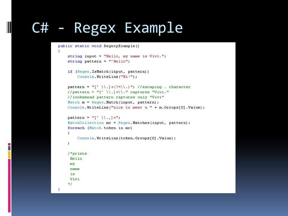 C# - Regex Example