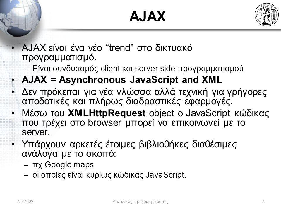 AJAX AJAX είναι ένα νέο trend στο δικτυακό προγραμματισμό.