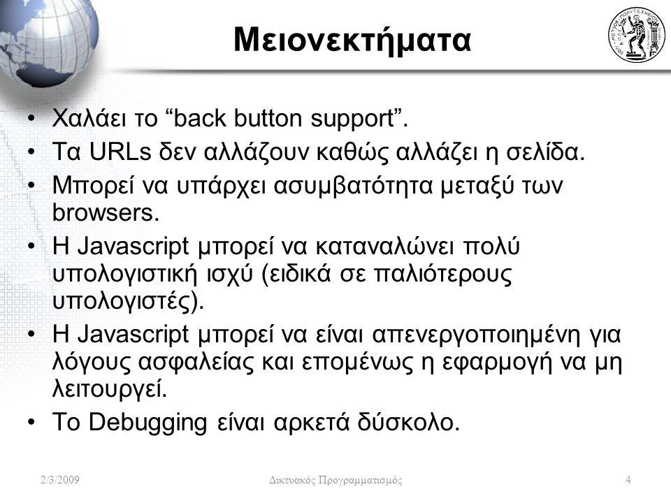 Μειονεκτήματα Χαλάει το back button support . Τα URLs δεν αλλάζουν καθώς αλλάζει η σελίδα.