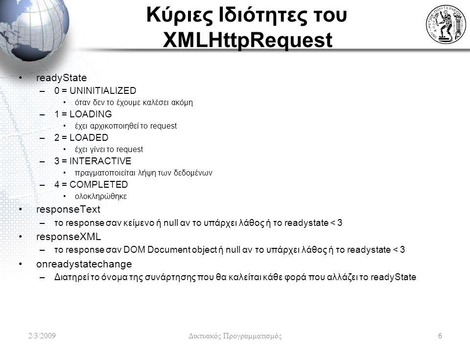 Κύριες Ιδιότητες του XMLHttpRequest readyState –0 = UNINITIALIZED όταν δεν το έχουμε καλέσει ακόμη –1 = LOADING έχει αρχικοποιηθεί το request –2 = LOADED έχει γίνει το request –3 = INTERACTIVE πραγματοποιείται λήψη των δεδομένων –4 = COMPLETED ολοκληρώθηκε responseText –το response σαν κείμενο ή null αν το υπάρχει λάθος ή το readystate < 3 responseXML –το response σαν DOM Document object ή null αν το υπάρχει λάθος ή το readystate < 3 onreadystatechange –Διατηρεί το όνομα της συνάρτησης που θα καλείται κάθε φορά που αλλάζει το readyState 2/3/2009Δικτυακός Προγραμματισμός6