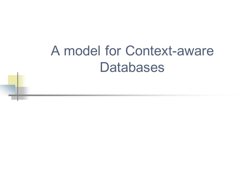 A model for Context-aware Databases