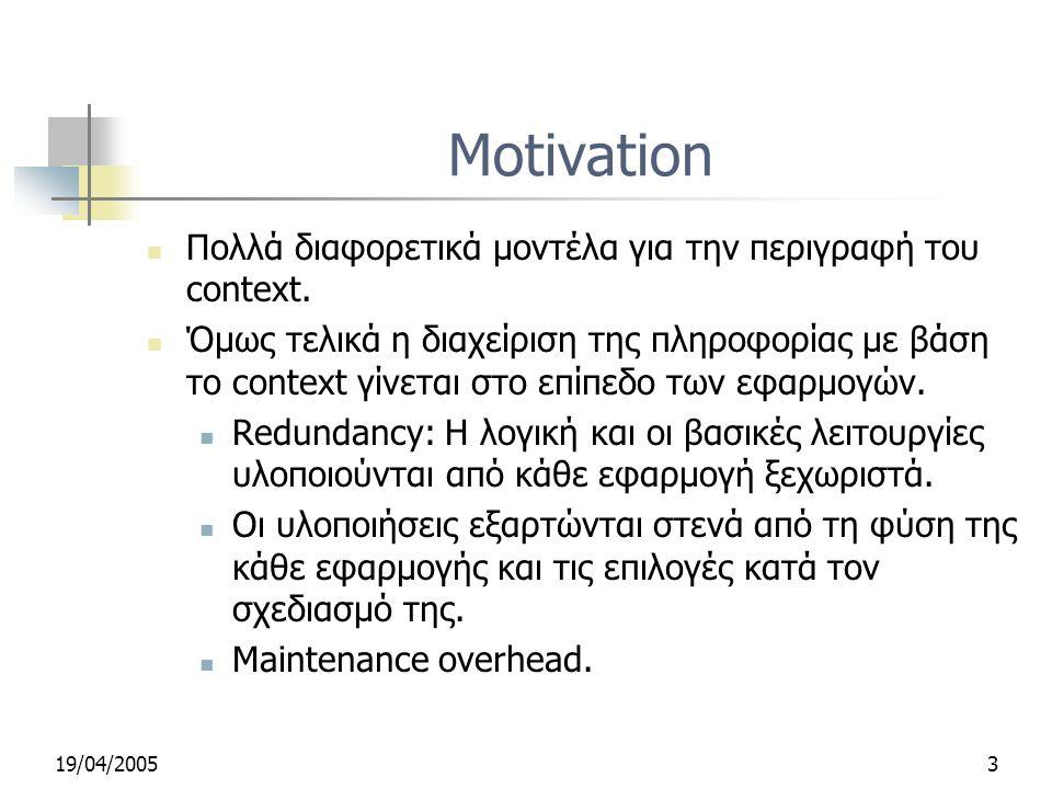 19/04/20053 Motivation Πολλά διαφορετικά μοντέλα για την περιγραφή του context.