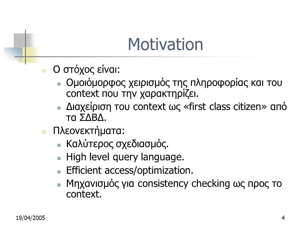 19/04/20054 Motivation Ο στόχος είναι: Ομοιόμορφος χειρισμός της πληροφορίας και του context που την χαρακτηρίζει.